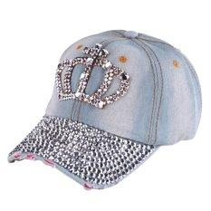 Fashion Wanita Denim Jeans Kancing Berlian Imitasi Berkelip kelip Bling  Crown Hat Topi Baseball Multi 2aa79d5cfb