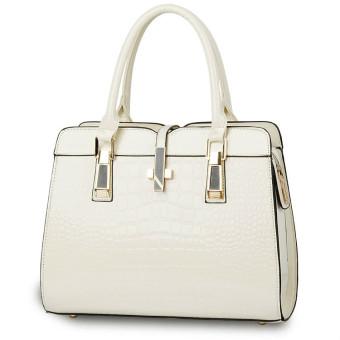 Fashion Wanita Tas Bahu Tas Wanita Kulit Buaya Besar PU Tas Tangan Wanita Putih - International