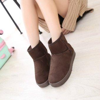 Fashion Winter Women Shoes Warm Cotton Boots (Brown) - intl