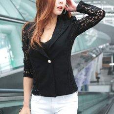 Fashion Women Korean Lace Crochet One Button Slim Blazer Suit Jacket Coat Tops - Intl