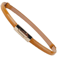 Fashion Women Lady Waist Belt PU Faux Leather Candy Color Skinny Belt (Camel)