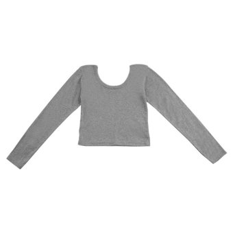 Fashion Women Long Sleeve Cropped Top T-shirt Belly Tops Blouses Shirts Hot Gray