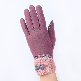 Fashion Women Outdoor Winter Warm Click Touch Screen Gloves(Purple) - intl