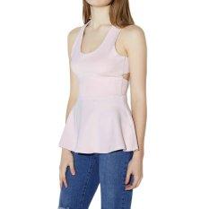 Fashion Women Tank Top Cross Round Neck Sleeveless Bodycon Tops T-Shirt (White)
