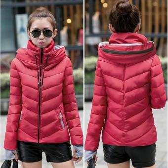 Fashion Women Warm Winter Thicken Coat Hooded Overcoat Long JacketOutwear (Red) - intl