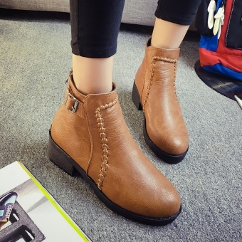 Fashion Women Winter Warm Cotton Leather Boots (Brown) - intl