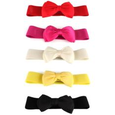 Fashion Women's Bowknot Elastic Bow Wide Stretch Buckle Waistband Waist Belt Yellow