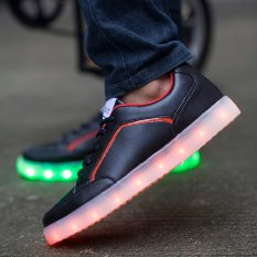 Fashion Women's Men's Unisex's PU Leather Black Led Light Solid Casual Shoes (7colors In 1shoes) D54 CA- INTL