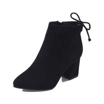 Fashional Ladies Women Winter Nubuck Martin Short Boots Casual Middle heel Shoes Black - intl