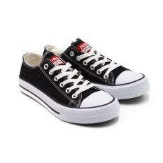 Faster Sepatu Sneakers Kanvas Wanita 1603-03 - Hitam/Putih