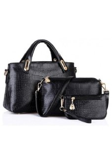 Faux Crocodile Leather Bags Set Of 3 (Black)