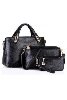 Faux Crocodile Leather Bags Set Of 3 (Black)