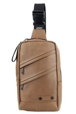 Faux Leather Sling Messenger Bags Backpacks (Brown)
