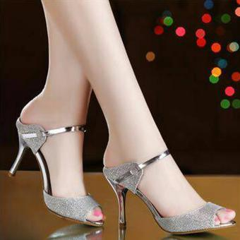 Femine - Sepatu Sandal High Heels Wanita Glitar - Silver