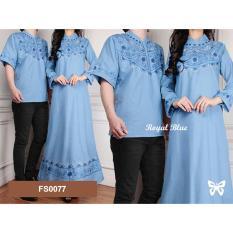 Flavia Store Baju Muslim Couple FS0077 - BIRU / Batik Sepasang / Kemeja Maxi Dress Pasangan / Gamis Modern / Gaun Panjang Muslimah / Hijab Modis / Sselegant