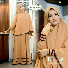 Flavia Store Baju Muslim Wanita Syar'i FS0535 - COKLAT MUDA / Gamis Syari Modern / Hijab Syar'i / Maxi Dress / Gaun Panjang Muslimah / Smsyfarose
