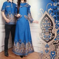 Flavia Store Batik Couple FS0566 - BIRU / Sepasang Kemeja Gamis / Baju Muslim Pasangan / Gaun Pesta Muslimah / Maxi Dress Wanita Lengan Panjang / Kebaya Modern / Hijab Modis / Tscpcaca