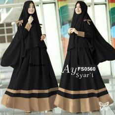Flavia Store Gamis Syari Set 2 in 1 FS0560 - HITAM / Baju Muslim Wanita Syaru0026