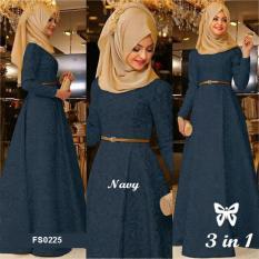 Flavia Store Maxi Dress Lengan Panjang Set 3 in 1 FS0225 - NAVY / Gamis /