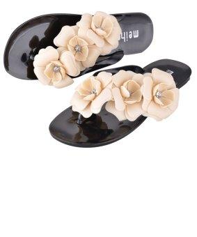 Flower Casual Beach Slippers Flip Flops Sandals Black - Intl