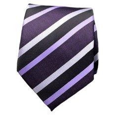 Formal Business Wedding Classic Men Tie Stripe Grid Silk Neckwear Fashion Accessories Men Necktie Purple Stripes- Intl