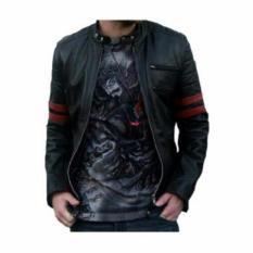 Ftex jaket semi leather Wolvrine hitam