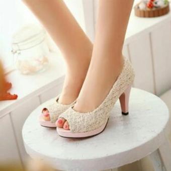 Fuboshoes Sepatu Wanita High Heels Nancy Cream