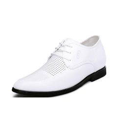 G816641 Summer New Men's 2.56 Inch Taller White Calfskin Leather Height Increasing Elevator Shoes Hollow Out (Intl)