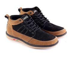 Garsel L047 Sepatu Sneaker Pria - Synth - Keren (Hitam-Coklat)