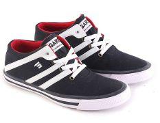 Garsel L058 B Sepatu Sneaker Pria - Kulit Suede-Synth - Bagus (Hitam)