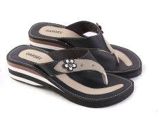 Garsel L487 Sandal Flat Casual Wanita - Synth - Keren (Hitam-Cream)