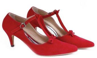 Garucci GBU 4196 Sepatu Fashion High Heels Wanita - Bludru - Modis & Gaya (Merah)