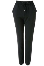 Stylish Elastic Waist Solid Colir Loose-Fittng Women's Harem Pants (Black)
