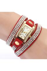 Geneva Women's Square Weave Wrap Rhinestone Faux Leather Watch Red