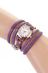 Geneva Women's Wrap Rivet Faux Leather Bracelet Wrist Watch Purple