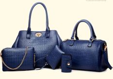 Genevieve 90074 Blue Tas Cantik 5in1 Dari Korea - Import - New Arrival
