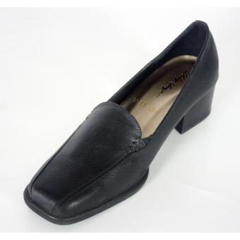 Genuine leather block heels