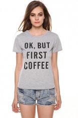 Jingle New Lady Women Fashion Short Sleeve O-Neck Letter Print Casual Slim T-Shirt S-XL (Grey)