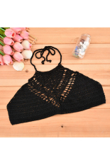 GETEK Stylish New Fashion Lady Women Halter Backless Sexy Hollow Out Lace Crochet Bustier Crop Tops Tees Bra Top One Size (Black) (Intl)