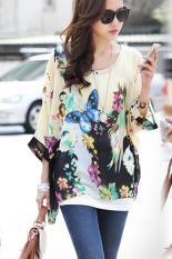 GETEK Women's Sexy Batwing Sleeve Chiffon Shirt Bohemian Tops Blouse Plus Size L-XL (Multicolor) (Intl)