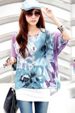 GETEK Women's Sexy Batwing Sleeve Chiffon Shirt Bohemian Tops Blouse Plus Size L-XL (Purple) (Intl)