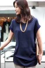 GETEK Women's V-neck Short Sleeve Big Size Loose Clothing Ladies Blouses Shirt Office / Casual Wear S-XXL (Dark Blue)