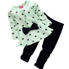 Gir Heart Dot Bow knot Boue PC s shirt & Pant Green