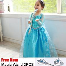 Girls Cosplay Kostum Halloween Anak Putri Beku Anna Elsa Dresses- intl