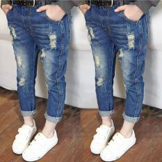 Girls Jeans Distrressed solid blue hollow out Mid elastic waist Washed water pants Autumn spring hole Children kids jeans pants - intl