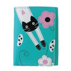 Girls Lovely PU Leather Cute Cartoon Cat Card Phone Holder Wallet (Green) - Intl