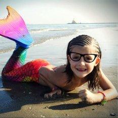Girl's Mermaid Tail Swimwear Swimsuit with Monofin Swim Fin Summer Swimming Suit - intl