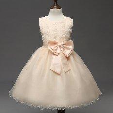Girls Sleeveless Dresses Children Party Princess Flower Girls Dresses Ivory