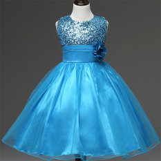 Girls Sleeveless Dresses Children Party Princess Flower Girls Dresses L16006 (Blue)