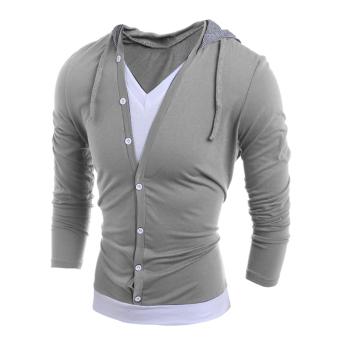 608a66163166c3 Gracefulvara Fashion Men V Neck Long Sleeve Hooded Casual T-Shirt Tops Tee  Shirts WIth